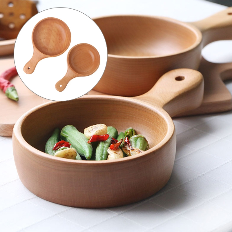 Us 1364 22 Offwooden Bowl Beech Handle Wooden Salad Bowl Handmade Large Food Bailer Pizza Storage Pot S L In Bowls From Home Garden On