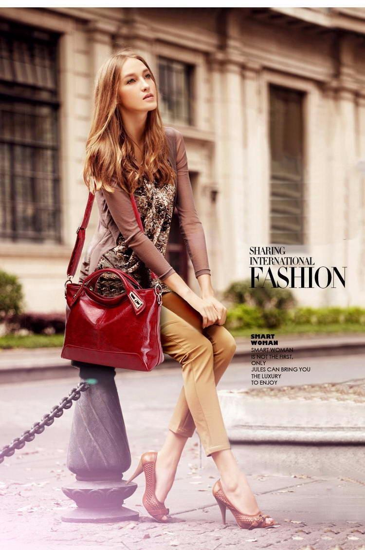 Women Oil Wax Leather Designer Handbags High Quality Shoulder Bags Ladies Handbags Fashion brand PU leather women bags WLHB1398 6