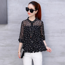 Long sleeved shirt 2017 women polo collar loose thin Chiffon blouse Autumn new style Black transparent floral temperament shirt