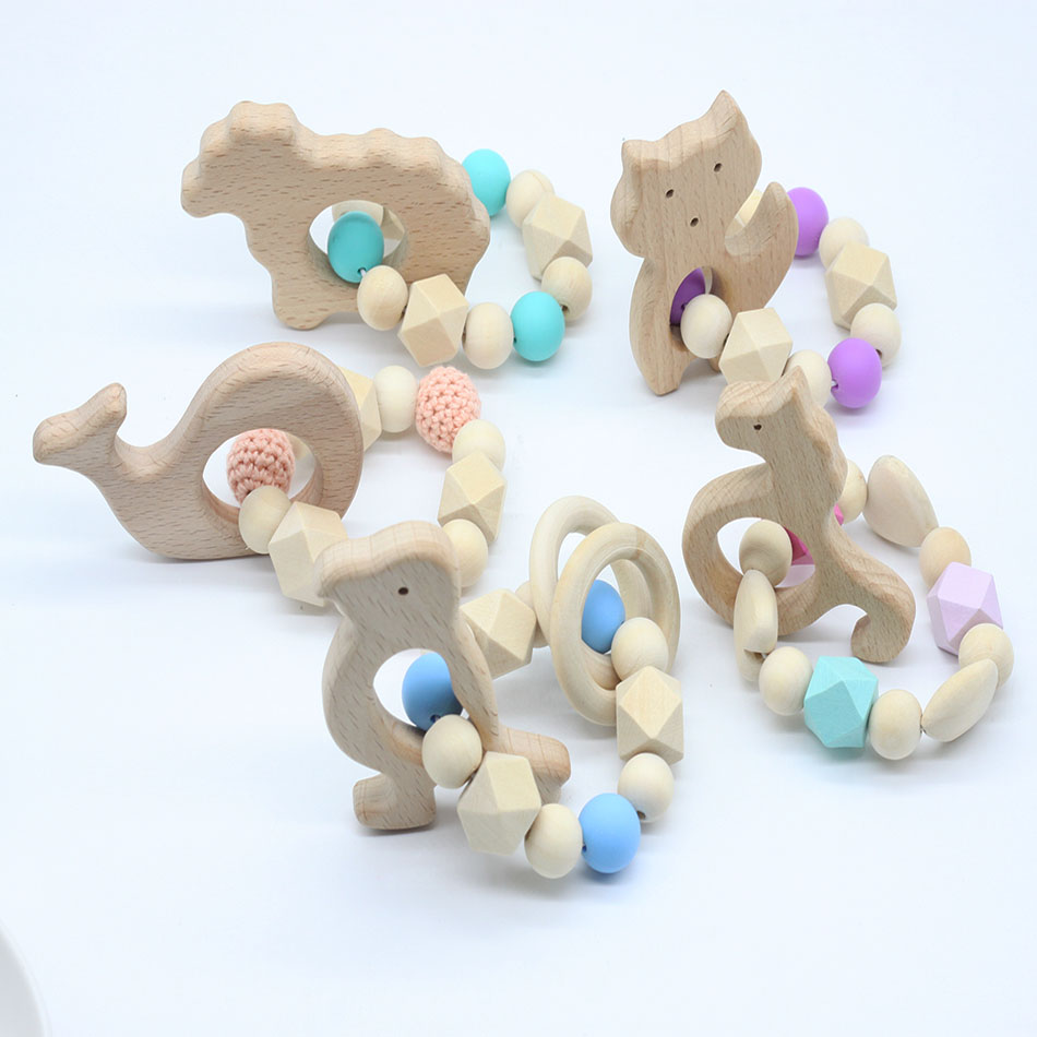 Let's make Baby Teether Silicone Bracelet Organic Elephant Wood Teether Non-toxic Food Grade Can Chew Toy Teething Jewelry цена 2017