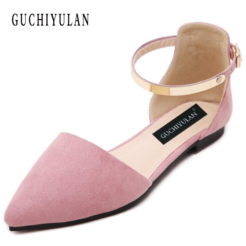 GUCHIYULAN Women Flats Casual Shoes 2018 Summer Suede Pointed Toe Fashion Shallow Flat Shoes Woman ballerines femme chaussures cresfimix women cute spring summer slip on flat shoes with pearl female casual street flats lady fashion pointed toe shoes