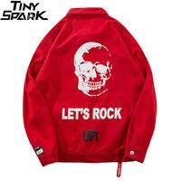 2018 Mens Red Denim Jacket Vintage Skull Print Hip Hop Denim Bomber Jackets Streetwear Rock Up Short Jacket Jeans Casual Autumn