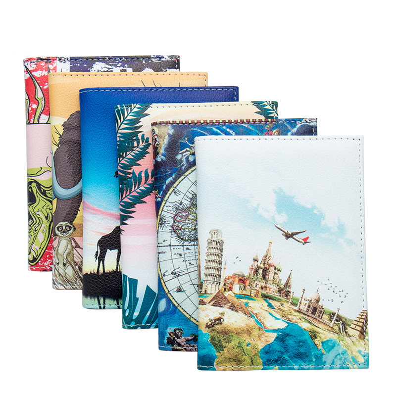 New World Map Travel Scenery Unisex Passport Cover With Traveling Built In RFID Blocking Protect Personal Information Women Men