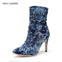 купить 2018 New Brand Design Women Boots Denim Pointed Toe High Heel Boots Autumn Cutout Ankle Boots Female Shoes 2017 Blue Size 35-43 по цене 2037.3 рублей