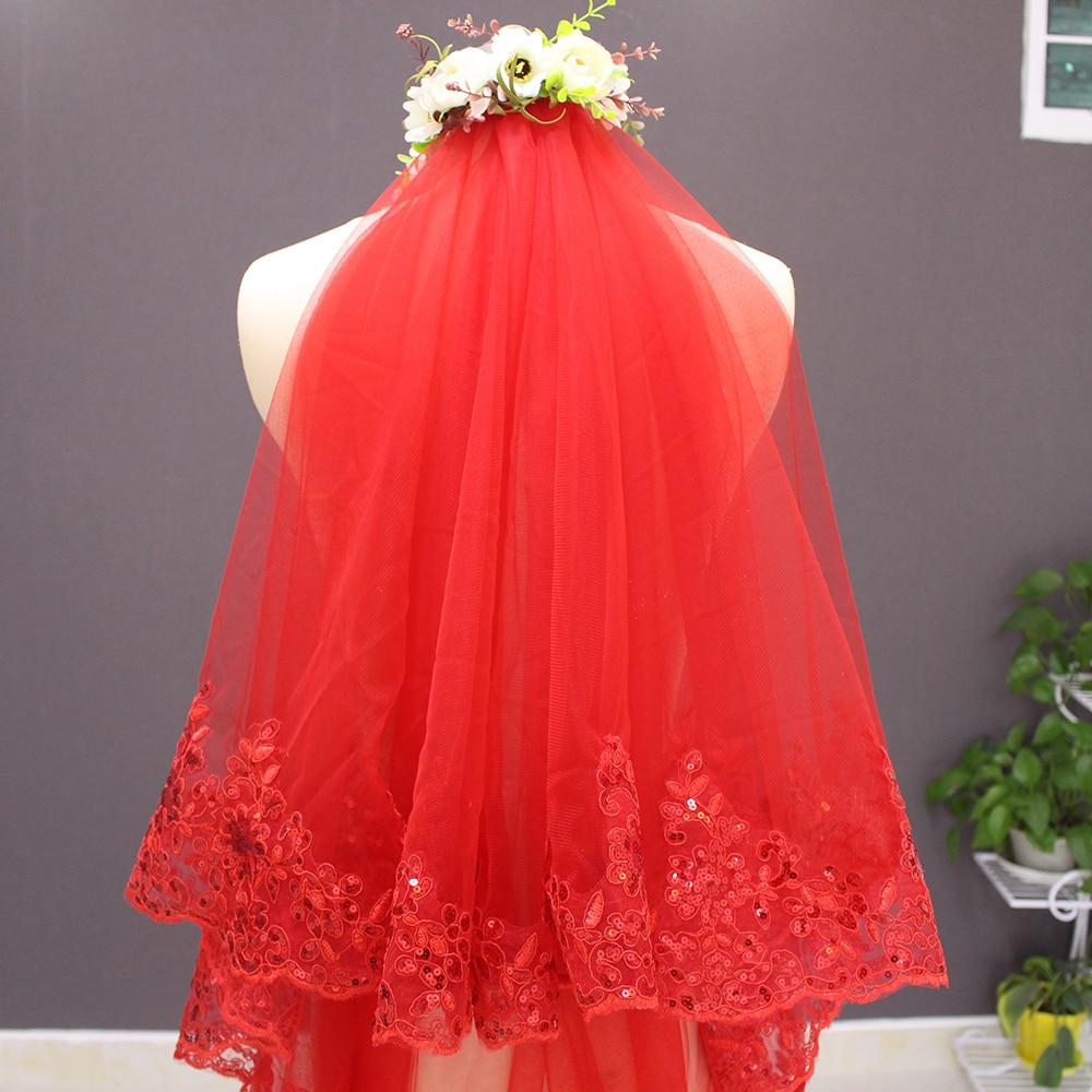 Verkliga bilder Två lager Sequined snörning Röd bröllopsslure med - Bröllopstillbehör - Foto 3