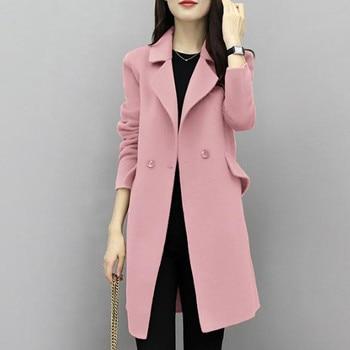 2019New Hot Sale Woman Wool Coat High Quality Winter Jacket Women Slim Woolen Long Cashmere Coats Cardigan Jackets Elegant Blend
