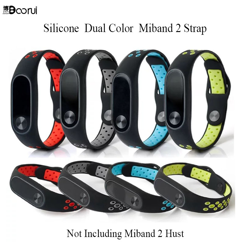 BOORUI Miband 2 Strap Colorful Silicone Mi Band 2 Smart Band Accessories Wrist Strap Dual Color  Replacement For Xiaomi Mi 2