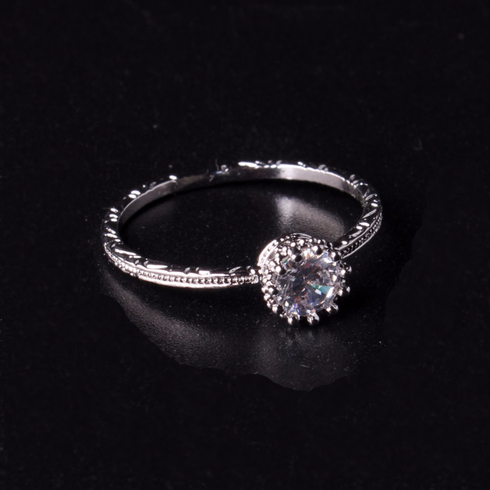 Druzy Women Fancy Jewelry Promise Ring Prong Stylish White Gold Color  Features A Dazzling Cubic Zirconia