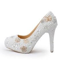 Luxus Weiße Perle Braut Kleid Schuhe mit Diamant von Alters Feier Party Pumps Handmade Kristall Perle Hochzeit schuhe