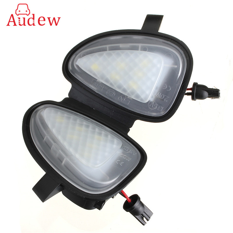 2Pcs White Under LED Side Mirror Puddle Light Lamp For VW Golf GTi MK6 6 MKVI 2010-2014 2pcs white under led side mirror puddle light lamp for vw golf gti mk6 6 mkvi 2010 2014
