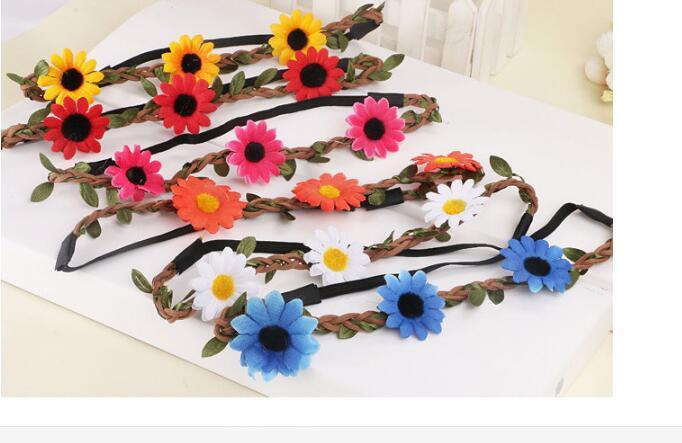 100pcs/lot free shipping fashion woman sunflower headwear Women Floral Hair band lady flower headband