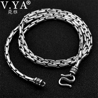 V.YA Real 925 Sterling Silver Snake Chain for Men 2mm/3mm Long Sterling Silver Men's Necklaces Retro Fine Jewelry