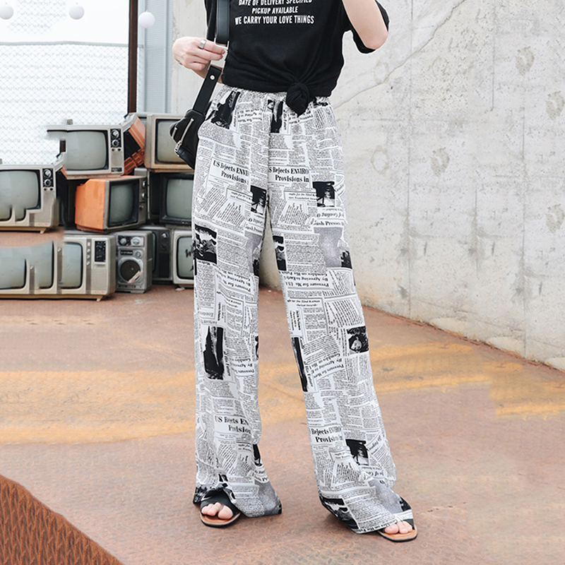 Newspaper Print Pleated   Wide     Leg     Pants   Women Summer Highstreet Female Trousers High Waist Streetwear Harajuku   pants   Women