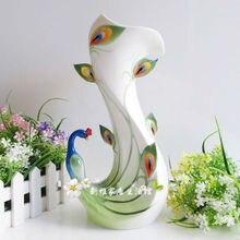 цена на ceramic cerative Peacock flowers vase pot home decor crafts room weeding decorations handicraft porcelain figurines