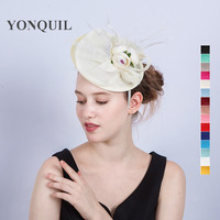 15 Colors Women S Brand Hat Birthday Holiday Pillbox Hats Silk Flower Decoration Wedding Feather Fascinator