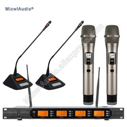 Professional UHF 4 Channel Digital Wireless Microphone System With 2+2 Multiattribute Microphone  Micwl.Audio
