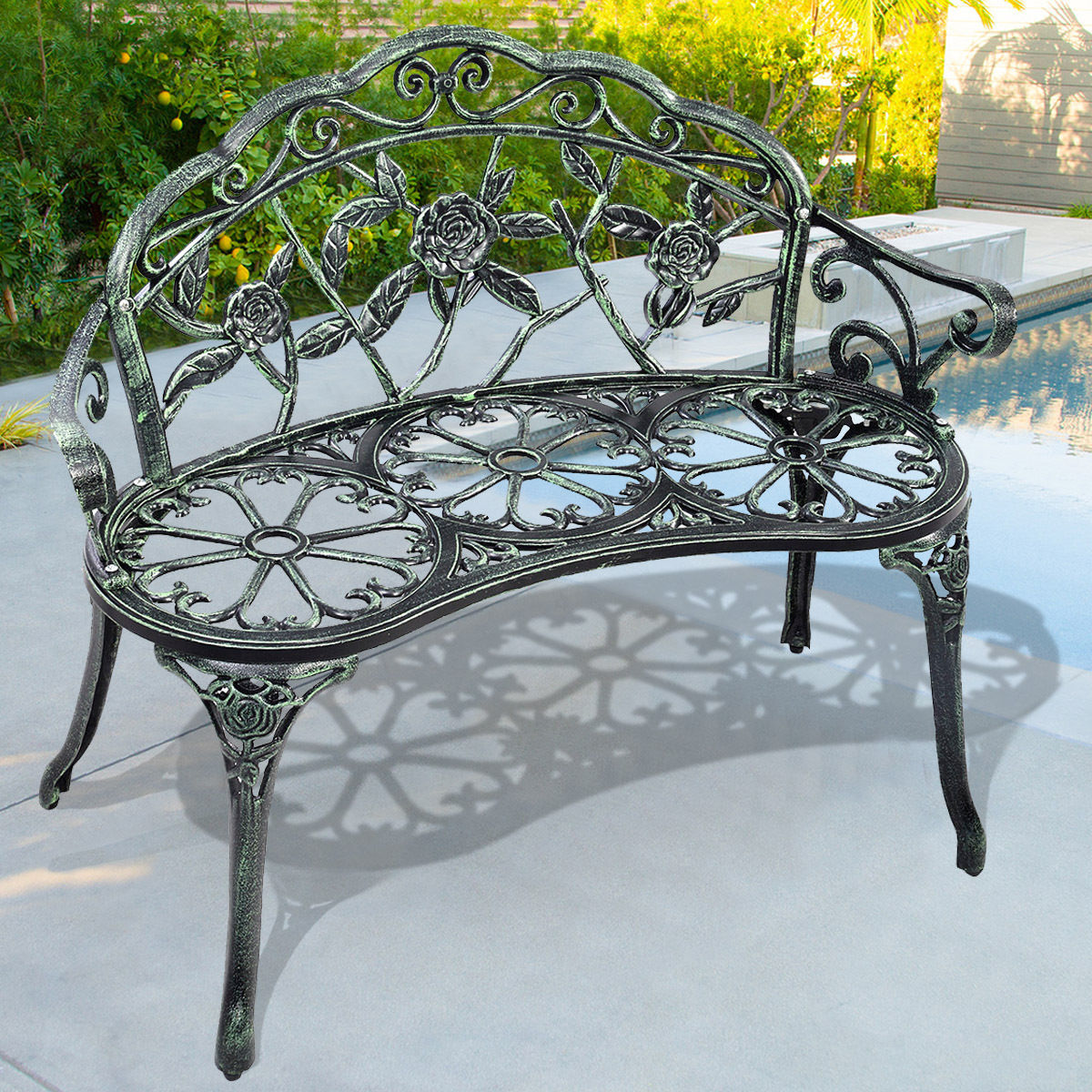 Giantex Patio Garden Bench Chair Vintage Style Porch Cast Aluminum Outdoor Furniture Back Rose Antique Green Yard Bench OP2780 3 seater wooden garden patio bench acacia garden furniture hot sale