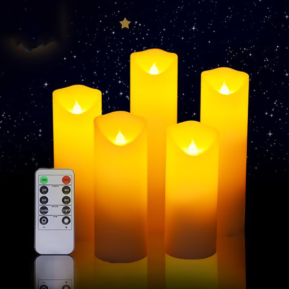 Holiday Christmas Candle Light Decorative,Flameless Electrical Paraffin Wax Led Candle Set Of 5 With Timer Remote,Wedding Candle