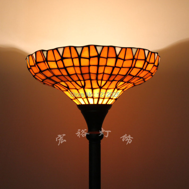 Antique Tiffany Style Torchiere Floor Lamp Uplighter For Living Room Bedroom Stand Lamps Home Lighting 14