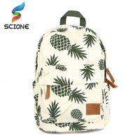 2016 Fresh Style Women Backpack Canvas Bakcpacks For Teenage Girls Pineapple Printing Bag Pack Casual Travel