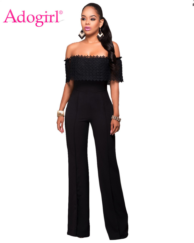 Adogirl Solid Lace Ruffle Off Shoulder Loose Jumpsuit Women Sexy Slash Neck Romper Wide Leg Pants Casual Outfit Office Work Wear
