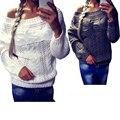 Новый сексуальных женщин с плеча с длинным рукавом вязать трикотаж пуловеры перемычка горячая