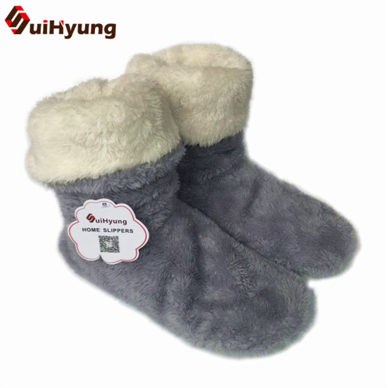 Suihyung New Winter Women's Boots Thermal Plush Indoor Shoes Botas Female Non-slip Soft Bottom Thick Floor Cotton-padded Shoes fralosha white star thick plush warm indoor boots floor shoes shoes non slip soft home shoes boots and the same bathrobe series