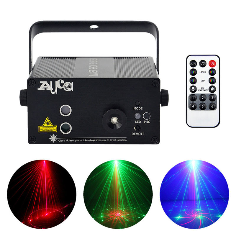 AUCD Remote 2 Lens 18 Patterns RG Laser Crossover Effect Project 3W Blue LED Mixing Effect DJ KTV Show Stage Lighting AZ18RG rg mini 3 lens 24 patterns led laser projector stage lighting effect 3w blue for dj disco party club laser