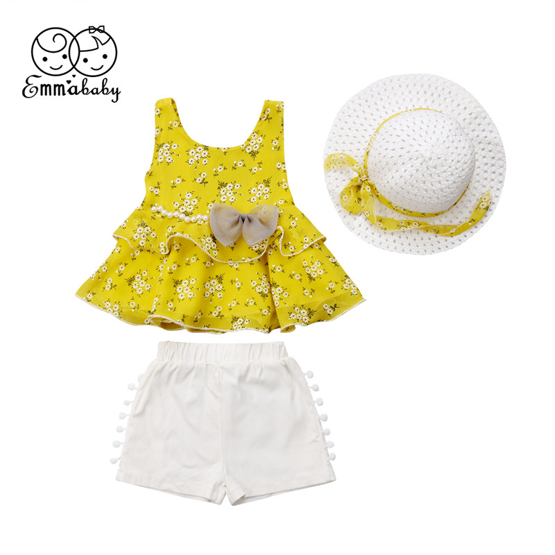 3PCS Child Youngsters Ladies Summer season Floral Printed Sleeveless T-shirt Tops Tassel White Shorts Hat Clothes Units Kids Units 2-7Years Clothes Units, Low cost Clothes Units, 3PCS Child Youngsters...