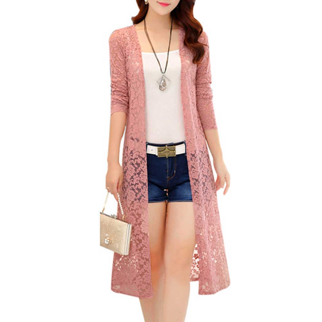 59826fc15ee Elegant Ladies Summer Long Lace Kimono Cardigan Women Plus Size 2018 Long  Sleeve Shirts Beach Blouse