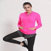 Women Sport Jackets Zipper Hooded Running Coat Quick-dry Long-sleeved Sweatshirt Fitness Yoga Outerwear Top chaquetas