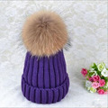 Mink and Fox Fur pom poms Ball Cap Winter Hat for Women Girl's Cotton Hats Wool Hat Knitted Cap Brand New Women's Thick Cap