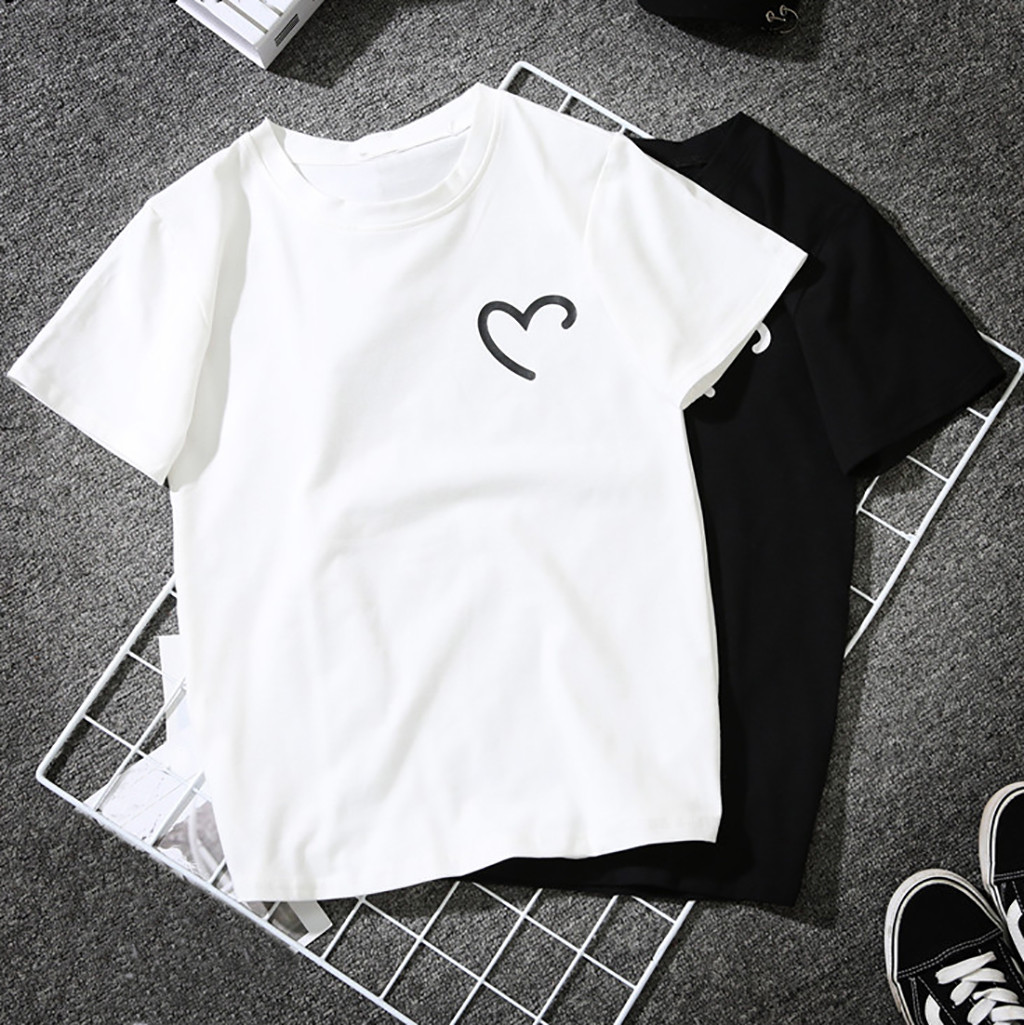 Tees Polo-Shirt Short-Sleeve Heart-Shaped-Printed Girls Plus-Size Women Simple Casual