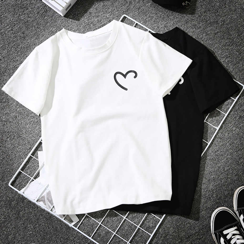 T Shirt Women Couple tshirt Heart-Shaped Print Tees Short Sleeve O-neck Simple Casual Loose Streetwear top tshirt футболка