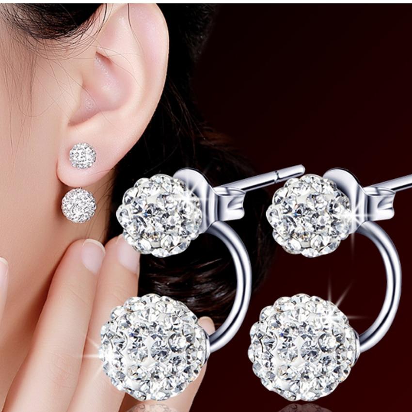 Lady 925 Sterling Silver plaqué double Crystal Ball boucles d/'oreilles bijoux