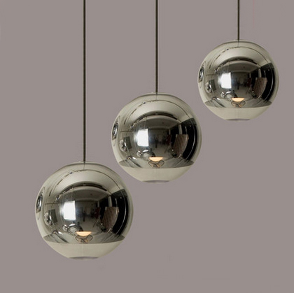 Modern Mirror Glass Ball Pendant Lights Restaurant Chrome Globle Pendant Lamps Kitchen Hanging Light Fixture Luminaira