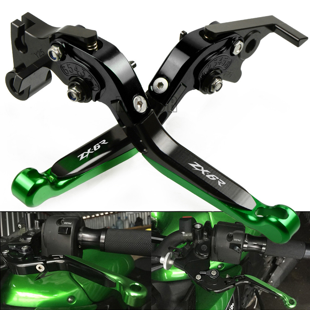 For Kawasaki ZX636R ZX6RR 2005 2006 ZX 636 R 6 RR Motorcycle CNC Aluminum Adjustable Foldable