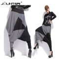 New Spring Autumn Fashion Casual Women Loose Pants Cotton Blend Patchwork Striped Color Cross pants 2016 Top sale Trousers
