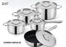 FREE SHIPPING CASSEROLES Pot set 10PCS stainless steel cookwareset soup pan hot pot milk pan steamer cooking