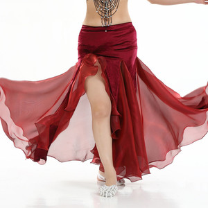 Image 4 - نساء بطن ملابس رقص سيدة رقص تنورة 2 layer شبكة تنورة مثير رقص تنّورة ملفوفة أداء رقص