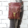 Free Shipping Personality Women/Men Brown Leather Steampunk Mini Waistbag Motorcycle Leg Thigh Holster Bag Crossbody Bag