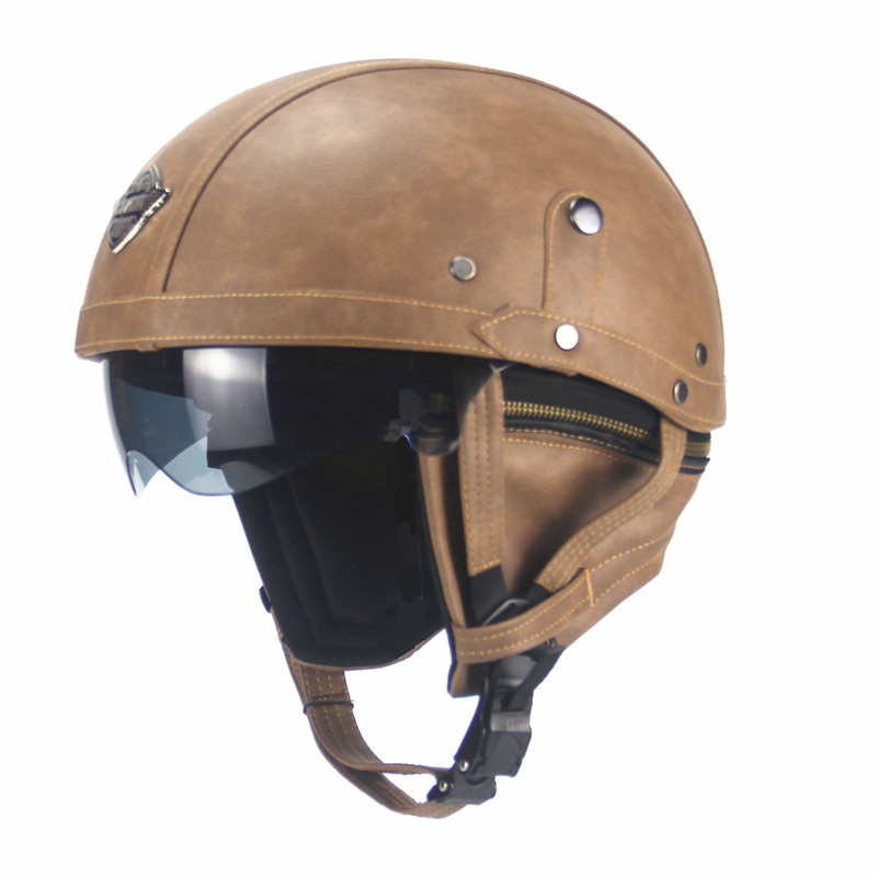 2016 Brand Black Adult Leather Helmets For Motorcycle Retro Half Cruise Helmet Prince Motorcycle Helmet DOT Approved in Helmets from Automobiles Motorcycles