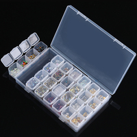28 Slots Clear Plastic Empty Storage Box Powder Paillette Rhinestone Beads Nail Art Accessories Case Container