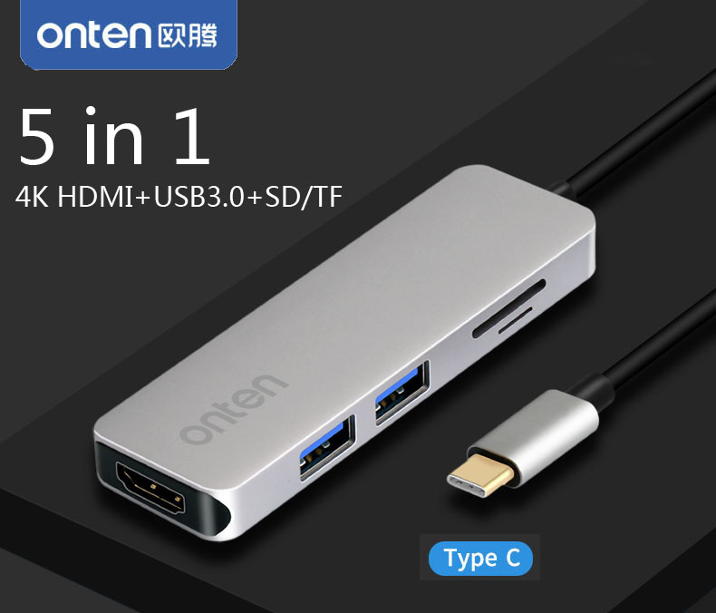 5 in 1 USB C HUB Type C to 4K HDMI Video Adapter Converter with SD/TF Card Reader and 2 USB 3.0 Connector for MacBook Pro MAC