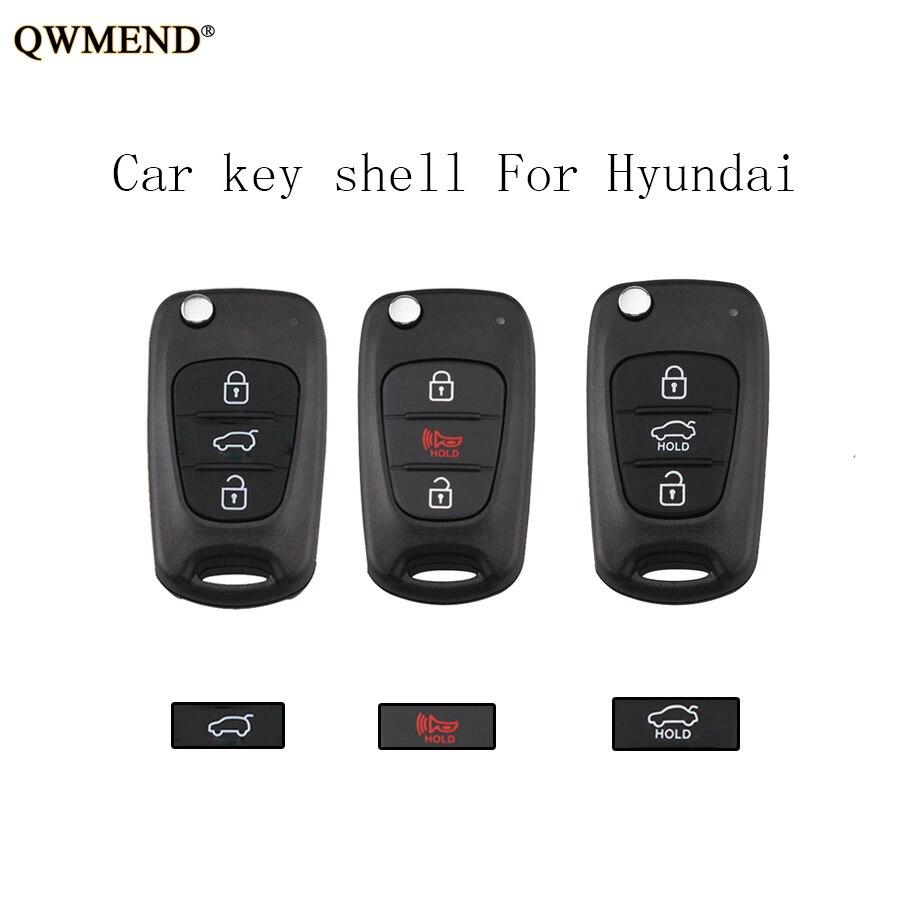 Qwmend 3buttons Flip Car Remote Key Shell For Hyundai