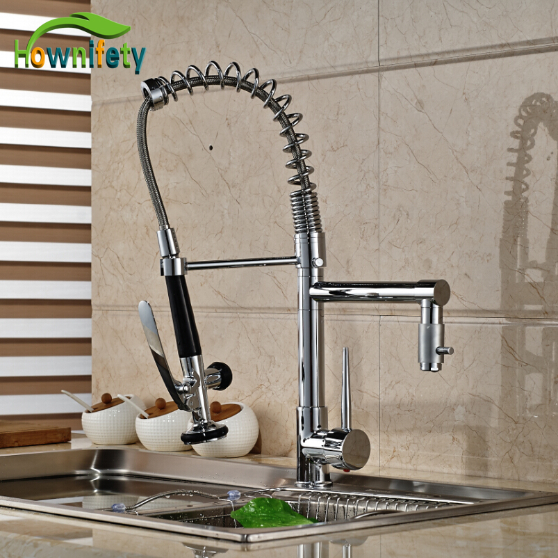 Chrome Kitchen Single Handle One Hole Faucet Deck Mount Sink Mixer Tap Pull Down Spray free shipping high quality chrome brass kitchen faucet single handle sink mixer tap pull put sprayer swivel spout faucet