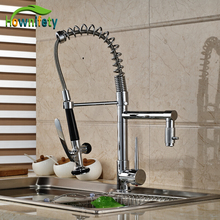 Chrome Kitchen Single Handle One Hole Faucet Deck Mount Sink Mixer Tap Pull Down Spray