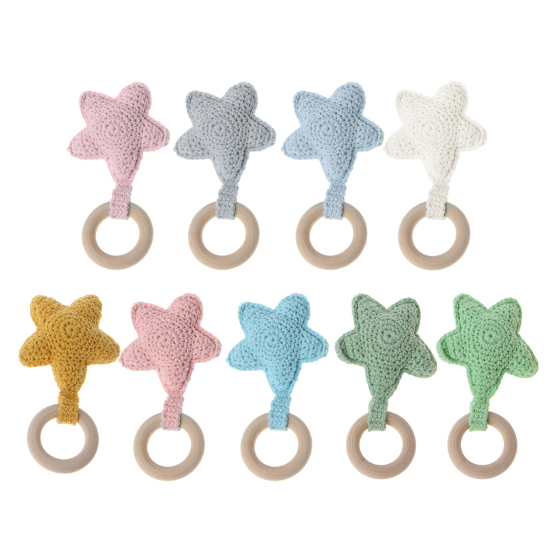Baby Teething Ring Chewie Teether Safety Wooden Natural Star Sensory Toy Gift