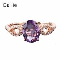 BAIHE Elegant Women Natural Diamonds Ring Guenuine Amethyst Solid 10k Rose Gold Engagement Wedding Ring Gemstone Jewelry Gift