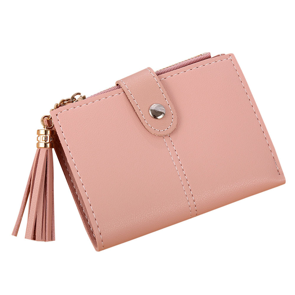 Women Simple Short Wallet Tassel Coin Purse Card Holders Handbag Credit Card ID Holder With RFID Anti-chief Wallet fermasoldi#75